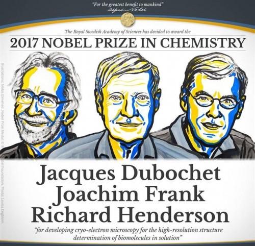 2017 노벨화학상 수상자 (왼쪽부터)자크 뒤보셰(75), 요아힘 프랑크(77), 리처드 헨더슨(72)./사진=노벨상 공식 홈페이지 캡처