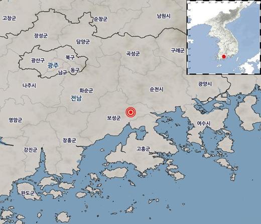 8일 낮 12시18분 전남 보성군서 규모 2.8 지진이 발생했다. /사진=기상청