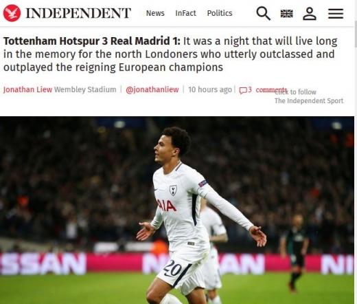 챔피언스리그에서 토트넘이 레알 마드리드를 3-1로 완파했다. /사진=영국 인디펜던트 캡처
