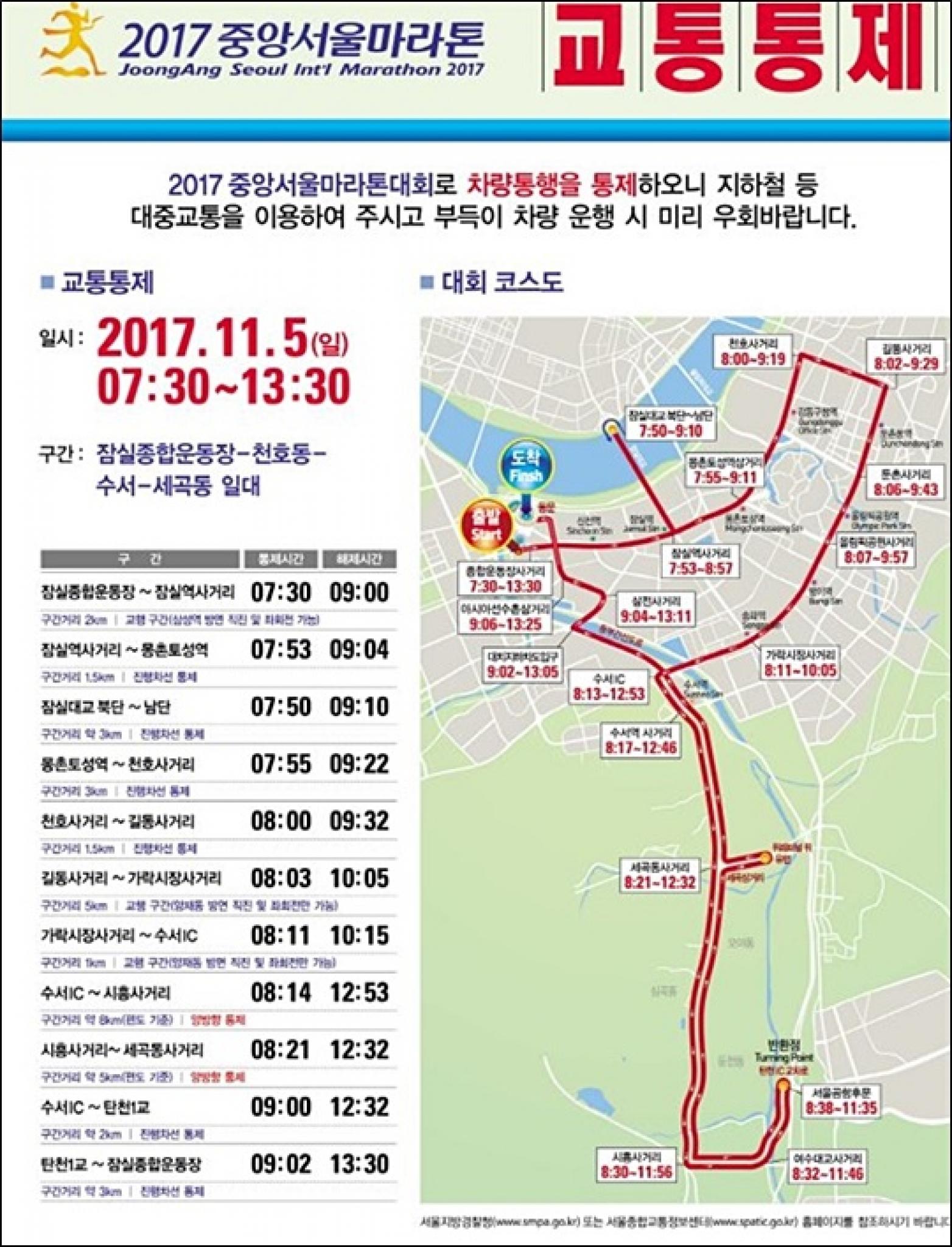 서울 마라톤 교통통제 구간. /사진제공=서울시