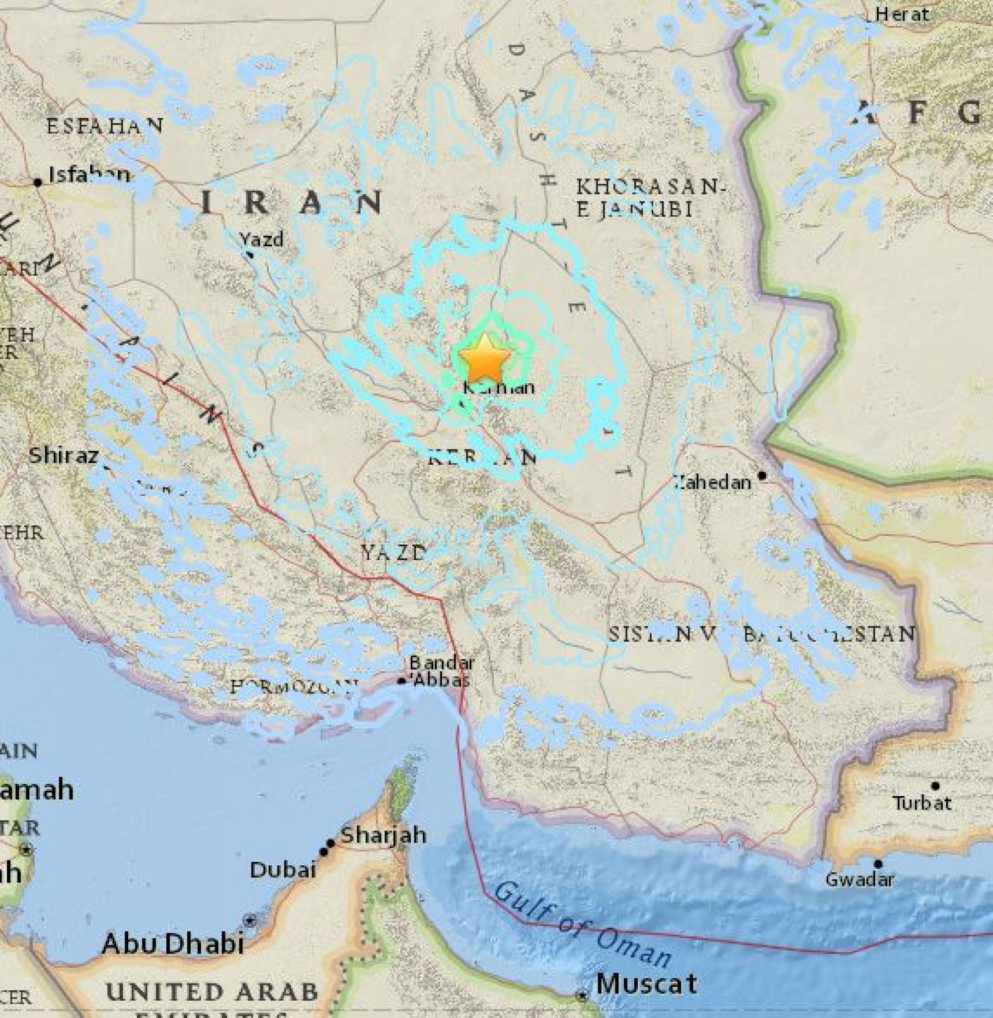 이란에서 지진이 발생했다. /사진=미국 USGS 캡처