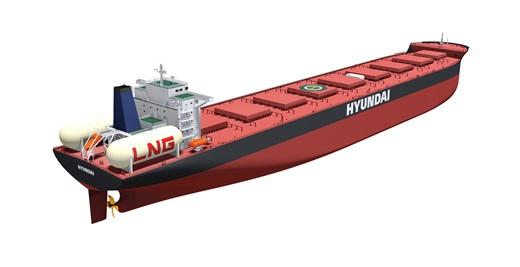 현대중공업이 개발한 18만톤급 LNG추진 벌크선 조감도. /사진=현대중공업 제공