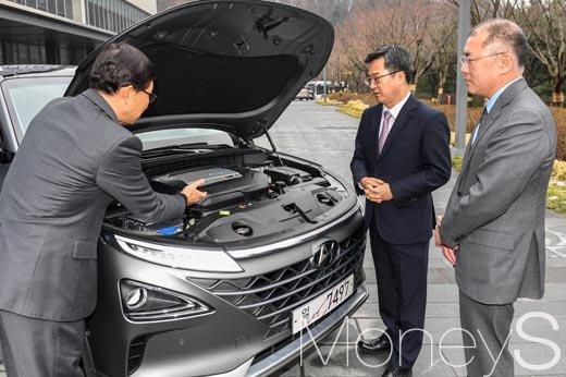 [머니S포토] 현대자동차 수소엔진 설명 듣는 김동연 부총리