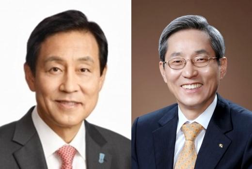 김정태 하나금융지주 회장(왼쪽)과 윤종규 KB금융지주 회장. /사진=각 은행 제공