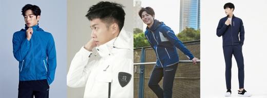 ▲좌측부터 밀레 서강준, 블랙야크 이승기, 아이더 박보검, 노스페이스 화이트라벨 우도환