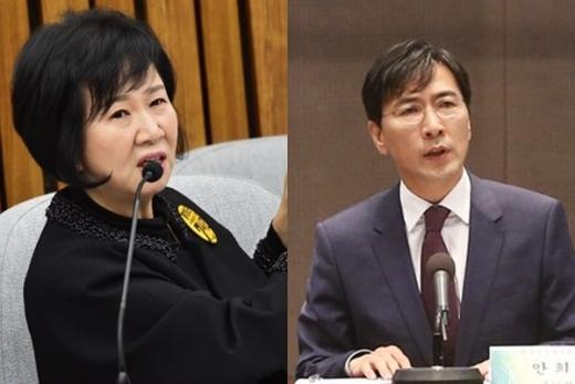 손혜원 더불어민주당 의원(왼쪽)과 안희정 충남지사. /사진=임한별 기자