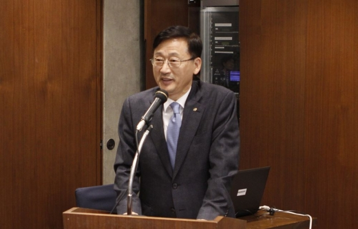 이정환 주택금융공사 사장이 6일 서울 은행연합회에서 MBS 투자설명회를 열고 인사말을 하고 있다./사진=주택금융공사