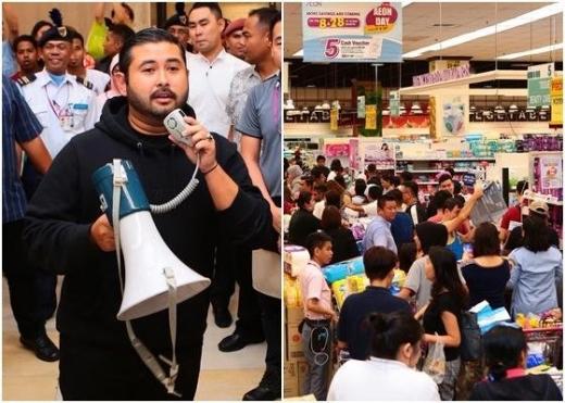 말레이시아 조호르주 왕세자 툰쿠 이스마일 술탄 아브라힘이 마트 고객 전원의 물건을 계산해주는 '골든벨'을 울려 화제를 모았다./조호르 다룰 타짐 페이스북