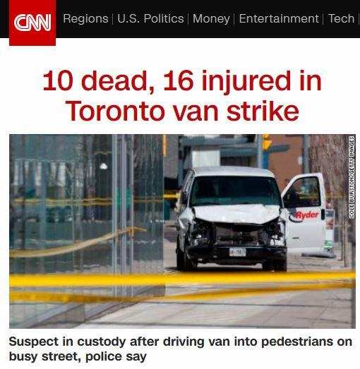 토론토 사고. 차량 인도 돌진 사고. /사진=CNN 방송캡처