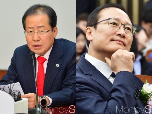 홍준표 자유한국당 대표(왼쪽)와 홍영표 더불어민주당 원대대표. /사진=임한별 기자