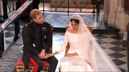 메간 마클과 영국 해리 왕자는 19일 런던 윈저성 성당에서 결혼식을 올렸다./사진=BBC 캡처