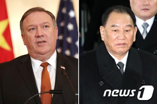 폼페이오 미 국무장관(왼쪽)과 김영철 북한 노동당 부위원장. /사진=뉴스1