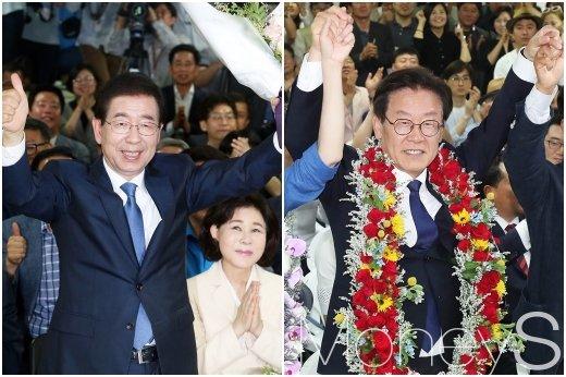 박원순 서울시장 당선자, 이재명 경기지사 당선자가 만세를 하고 있다./사진=임한별 기자