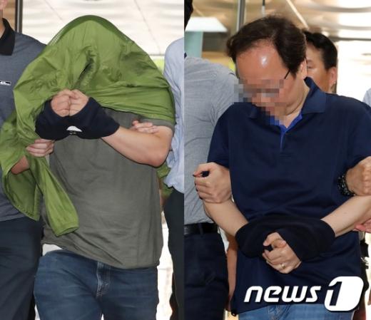 의혹을 받고 있는 '초뽀' 김모씨(왼쪽)와 '트렐로' 강모씨가 26일 오후 서울 서초구 서울중앙지방법원에서 열린 구속 전 피의자심문(영장실질심사)에 출석하고 있다./사진=뉴스1
