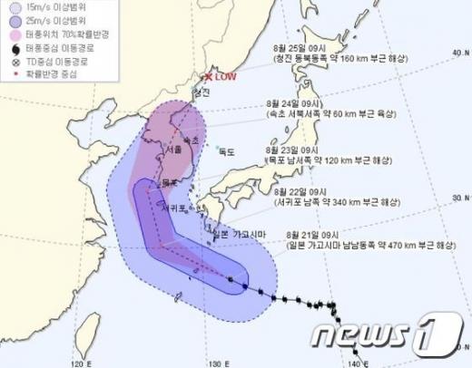 21일 오전 9시 기준 태풍 솔릭 예상 이동 경로./사진=뉴스1(기상청 제공)