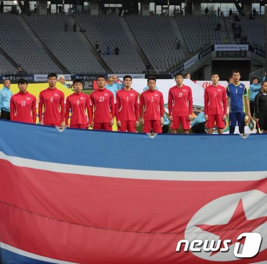 자카르타-팔렘방 아시안게임 8강전에서 아랍에미리트와 맞붙은 북한 축구대표팀./사진=뉴스1