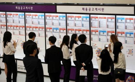 지난 5월31일 오전 서울 동대문구 동대문디자인플라자(DDP)에서 열린 IBK기업은행과 함께하는 2018 SK 동반성장 협력사 채용박람회에서 구직자들이 채용공고게시판을 바라보고 있다. / 사진=뉴시스 고범준 기자