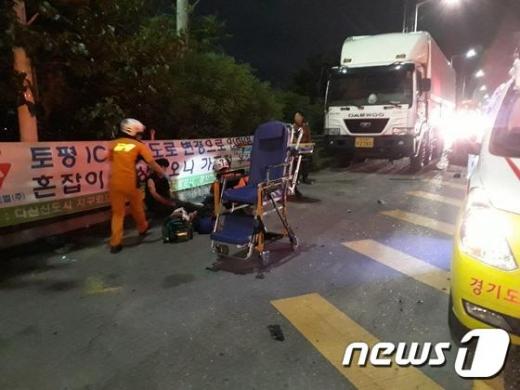 지난 27일 경기도 구리시 강변북로에서 박해미씨의 남편 황씨가 몰던 승용차가 트럭을 들이받아 배우 2명이 숨지고 3명이 다치는 사고가 발생했다. /사진=뉴스1