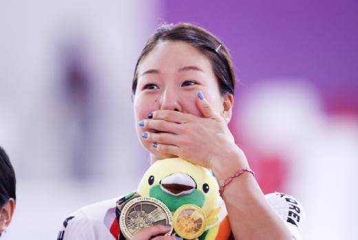 29일 아시안게임 사이클 트랙 여자 옴니엄에서 동메달을 획득한 김유리. /사진제공=대한자전거연맹