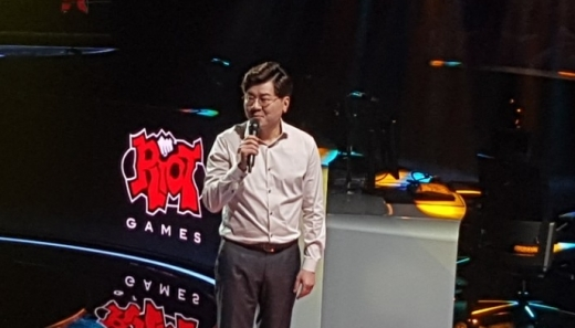 이승현 라이엇게임즈코리아 대표가 롤파크를 소개하고 있다. /사진=채성오 기자