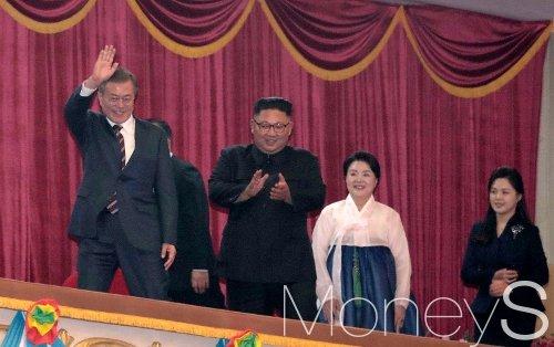 [머니S포토] 환영예술공연도 함께 관람하는 남북 정상