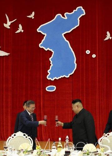 [머니S포토] 환영 만찬에서 건배하는 남북 정상