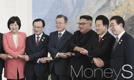 [머니S포토] 손 맞잡은 남북
