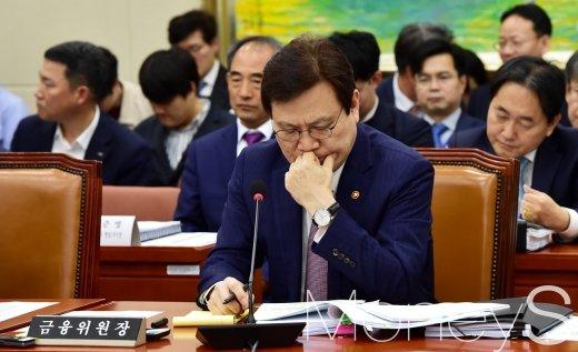 [머니S포토] 금융위 국정감사, 고심하는 최종구 위원장