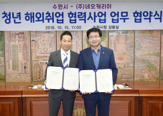 ▲ '청년 해외취업 협력사업 업무 협약' 체결. / 사진제공=수원시