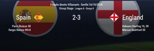 스페인-잉글랜드 결과./사진=네이션스리그 홈페이지 캡처