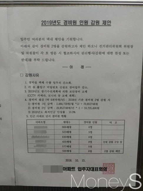 인천 남동구 서창동 한 고급아파트에 올라온 경비원 인원감축 제안서. /사진=류은혁 기자