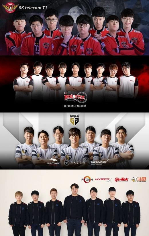 2019시즌을 앞두고 대대적인 리빌딩에 들어간 (맨 위부터) SKT T1, KT 롤스터, 젠지 이스포츠, 킹존 드래곤 X ./사진= 팀별 공식 SNS