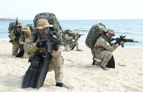 지난해 3월 실시된 키리졸브(KR)·독수리(FE) 훈련 당시 해군 제1함대 사령부 소속 제3특전대대(UDT/SEAL) 대원들이 강원도 동해안 일대에서 적진으로 침투하는 훈련을 하고 있다. /사진=뉴시스