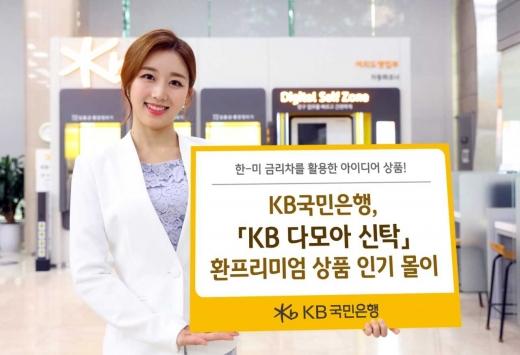 KB국민은행 홍보 모델이 'KB 다모아 신탁' 상품을 소개하고 있다. / 사진=KB국민은행