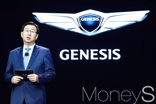 [머니S포토] 제네시스 G90 출시, 인사말 하는 이원희 사장