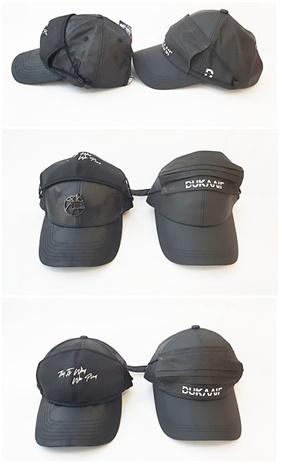 한세엠케이 NBA 모자의 마스크 모자(좌)와 듀카이프의 마스크 모자 '프랑켄더스트'(우)
