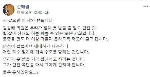 사진=손혜원 의원 SNS 캡처