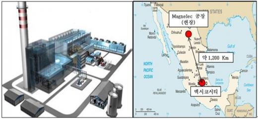 멕시코 키레이 열병합발전소 조감도(왼쪽) 및 위치도. /사진=포스코건설