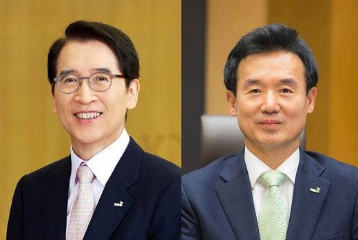 신창재 교보생명 회장(왼쪽)과 윤열현 사장 / 사진=교보생명