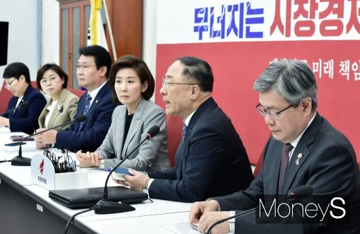 [머니S포토] 최저임금·탄력근로제 협조 당부하는 홍남기 장관