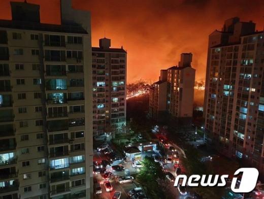 지난 4일 강원도 고성에서 발생한 산불이 강풍을 타고 속초 시내까지 번져 피해가 이어졌다. /사진=뉴스1