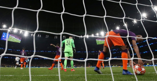 10일 오전(한국시간) 영국 런던 토트넘 홋스퍼 스타디움에서 열린 2018-2019시즌 UEFA 챔피언스리그 8강 1차전에서 토트넘 홋스퍼에게 0-1로 패한 맨체스터 시티. /사진=로이터