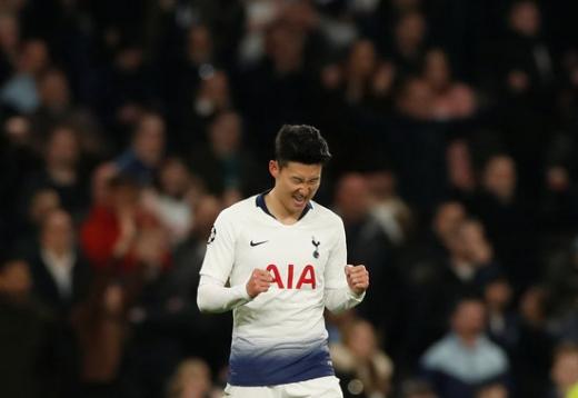 10일 오전(한국시간) 영국 토트넘 홋스퍼에서 열린 2018-2019시즌 유럽축구연맹(UEFA) 챔피언스리그 8강 1차전에서 맨체스터 시티(맨시티)를 상대로 결승골을 넣은 토트넘 홋스퍼의 손흥민. /사진=로이터