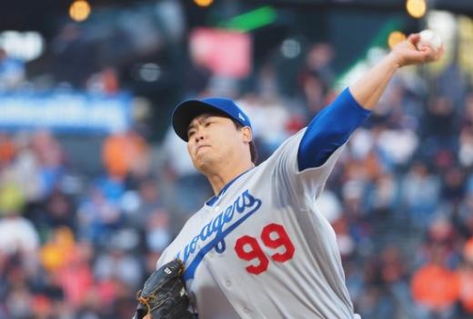 2일(한국시간) 미국 캘리포니아주 오라클 파크에서 열린 2019 미국메이저리그(MLB) 샌프란시스코 자이언츠전에서 선발 투수로 출전한 LA 다저스의 류현진. /사진=로이터