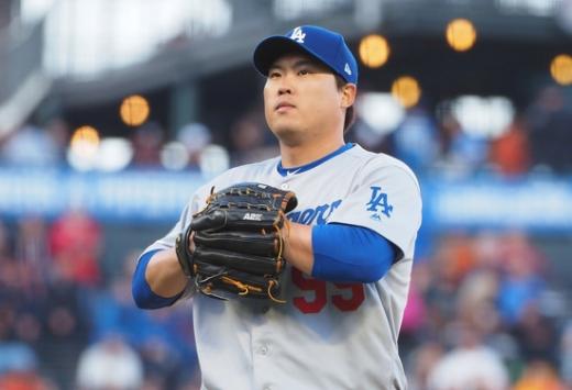 2일(한국시간) 미국 캘리포니아주 오라클 파크에서 열린 2019 미국메이저리그(MLB) 샌프란시스코 자이언츠전에 선발 투수로 나서 뛰어난 피칭을 선보인 LA 다저스의 투수 류현진. /사진=로이터
