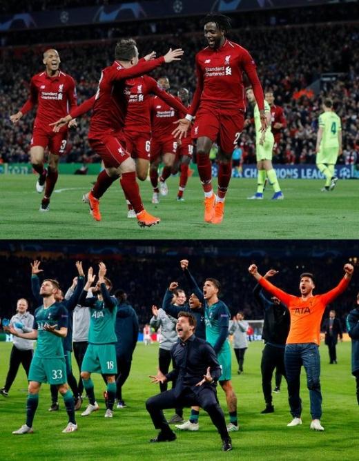 2018-2019시즌 UEFA 챔피언스리그 결승전을 EPL 단독 무대로 만들어낸 리버풀(위쪽)과 토트넘 홋스퍼. /사진=로이터