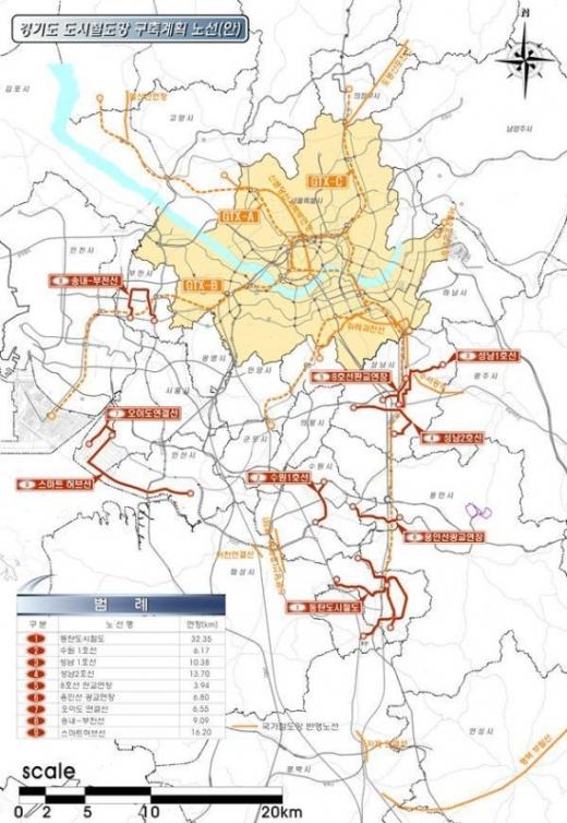 ▲ 도시철도망 구축계획 노선도. / 자료제공=경기도