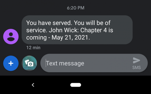 존 윅4를 예고하는 메시지. /사진=폴리곤 홈페이지