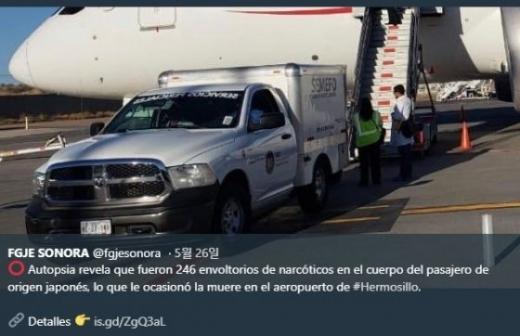 코카인 246개 먹은 남성. /사진=머니투데이(멕시코 소노라주 검찰 트위터 제공)
