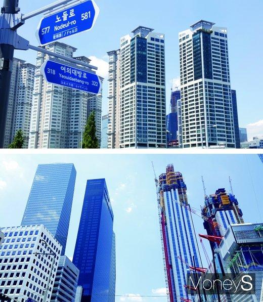 여의도의 한 주상복합 아파트(사진 윗쪽)와 IFC(사진 아래 왼쪽 뒷쪽부터), 콘래드호텔, 파크원 공사현장. /사진=김창성 기자